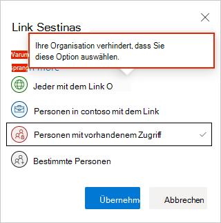 Einstellungen für OneDrive-Weblink
