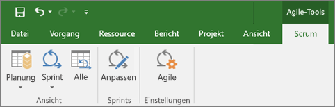 "Screenshot des Project-Menübands mit der Registerkarte ""Agile-Tools"""