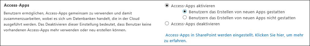 """Screenshot der Access-Apps-Einstellungen auf der Seite """"SharePoint Admin Center"""""""