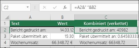 """Beispiele für das Verketten von Zellwerten ohne TEXT.  Formel:  =A2&"""" """"&B2"""