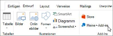 Screenshot einen Teil der Registerkarte ' Einfügen ' auf der Word-Multifunktionsleiste mit einem Cursor auf Meine Add-Ins wählen Sie meine-Add-ins-add-ins für Word Zugriff auf.