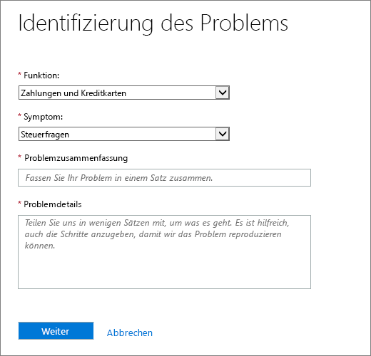 Das Identifizieren der Seite Problem in Office 365 Admin Center Serviceanfrage Form.