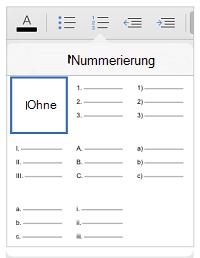 Nummerierungsformatvorlagen
