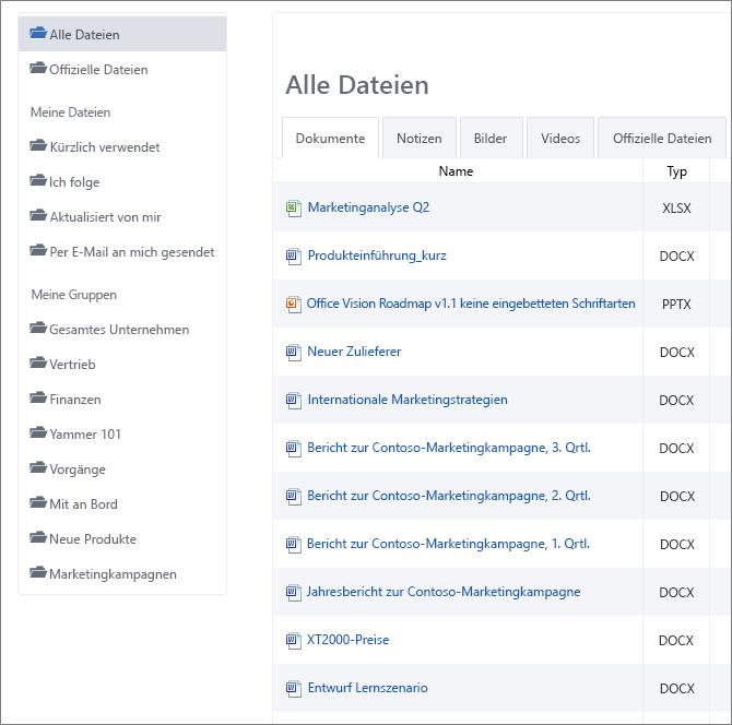Eine Liste aller Dateien im Yammer-Netzwerk