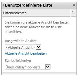 "Listenansicht ""Eigenschaften bearbeiten"", Abschnitt ""Listenansichten"""