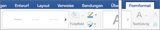 """Registerkarte """"Form formatieren"""" mit Linienkatalog"""