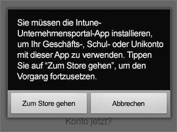 """Auf """"Zum Store wechseln"""" tippen, um die Intune-Unternehmensportal-App aufzurufen"""