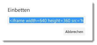 Einbindungscode für ein Office 365-Video