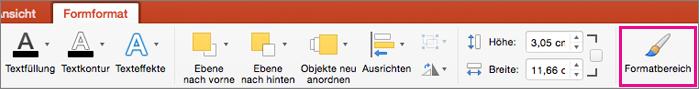 """PowerPoint für Mac, Registerkarte """"Formformat"""""""