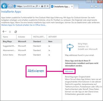 Eine App für Outlook aktivieren