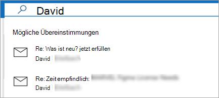 Zeigt E-Mail-Vorschläge an