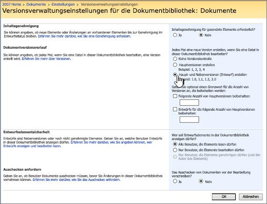 Einstellungen der Versionsverwaltung zum Aktivieren der Versionsverwaltung und zum Erzwingen von Genehmigung und Einchecken