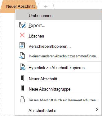 """Screenshot des Kontextmenüs, in dem die Option """"Umbenennen"""" ausgewählt ist."""