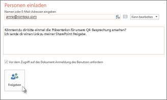Freigeben einer PowerPoint-Präsentation auf SharePoint