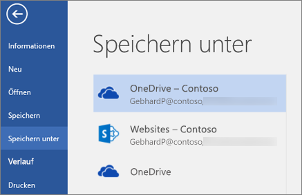 Speichern eines Word-Dokuments auf OneDrive for Business