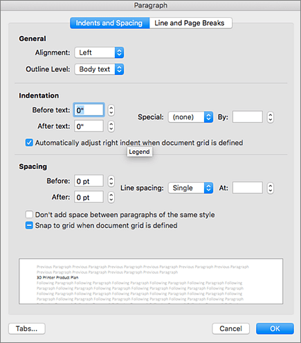 "Screenshot des Dialogfelds ""Absatz"""
