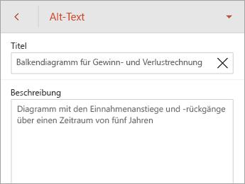 "Befehl ""Alternativtext"" auf der Registerkarte ""Diagramm"""