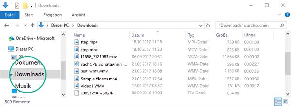 """Die konvertierte Datei wird in den Ordner """"Downloads"""" auf Ihrem Computer kopiert."""