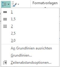 Screenshot: Ändern des Zeilenabstands in Publisher