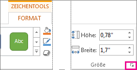 Startprogramm des Dialogfelds in der Gruppe 'Größe' auf der Registerkarte 'Format' unter 'Zeichentools'