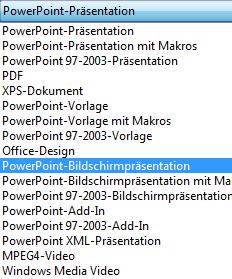 Speichern Sie Ihre Präsentation als PowerPoint-Bildschirmpräsentation