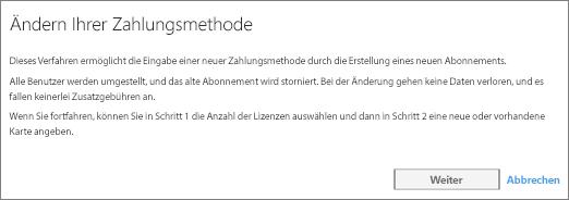 Screenshot der Benachrichtigung, die angezeigt wird, wenn Sie von Zahlung per Rechnung zur Zahlung per Kreditkarte wechseln.