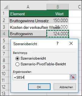"""Dialogfeld """"Szenariobericht"""""""