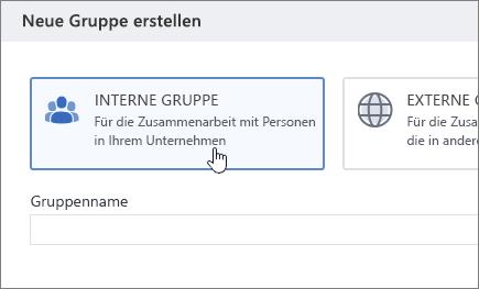 """Screenshot des Bildschirms """"Neue Gruppe erstellen"""" in Yammer mit ausgewählter Option """"Interne Gruppe"""""""