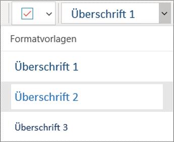 Liste von Überschriften in der OneNote für Windows 10-App