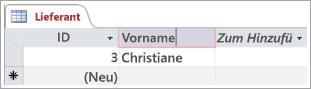 """Bildschirmausschnitt der Tabelle """"Lieferanten"""" zeigt zwei Zeilen mit ID."""