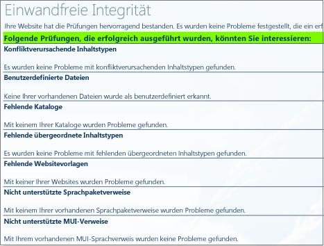 Ergebnisse der Integritätsüberprüfung für eine Websitesammlung