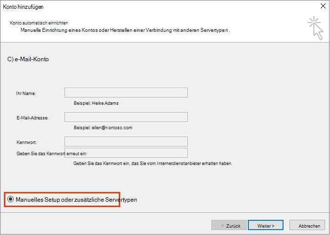 """Outlook-Befehl """"Konto hinzufügen"""", """"Manuelle Konfiguration oder zusätzliche Servertypen"""""""