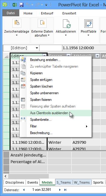 Mit der rechten Maustaste klicken, um Tabellenfelder aus Excel-Clienttools auszublenden