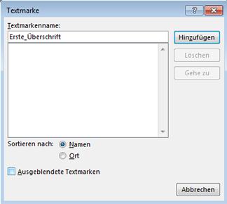 Dialogfeld 'Textmarke einfügen'
