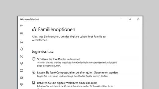 Familienoptionen in Windows-Sicherheit