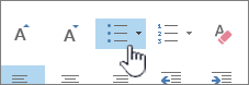 Outlook-Schaltflächen für Aufzählungszeichen und Nummerierungen