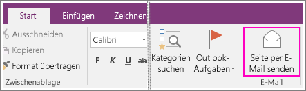 senden von onenote notizen in einer e mail onenote. Black Bedroom Furniture Sets. Home Design Ideas