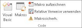 """Gruppe """"Code"""" auf der Registerkarte """"Entwicklertools"""" in Excel"""