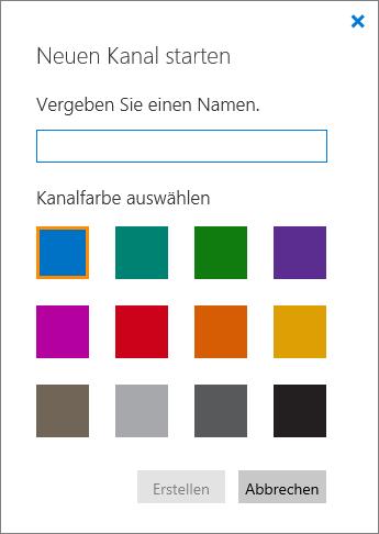 """Screenshot des Bereichs """"Neuen Kanal starten"""""""