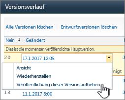 """Dropdown """"Versionsverwaltung"""", """"Veröffentlichung aufheben"""" hervorgehoben"""