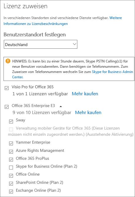 """Screenshot des Menüs """"Lizenz zuweisen"""" mit der erweiterten Dienstliste. Alle Dienste bis auf einen sind ausgewählt."""