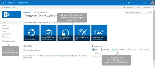 Office 365-Teamwebsite-Homepage