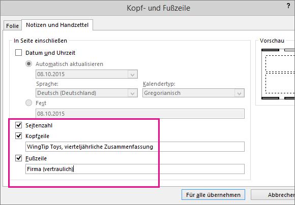 """Zeigt das Dialogfeld """"Kopf- und Fußzeilen"""" in PowerPoint"""