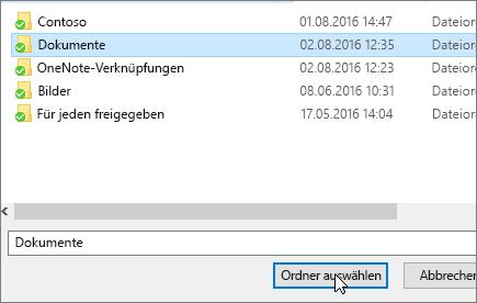 """Screenshot des Dialogfelds """"Ziel auswählen"""" im Menü """"Eigenschaften von 'Dokumente'"""""""