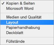 Auswählen eines Layouts im Dialogfeld Drucken