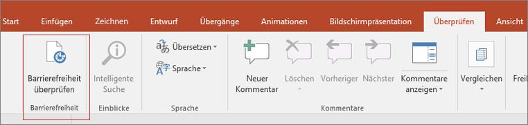 """Bildschirmausschnitt der Word-Benutzeroberfläche mit """"Überprüfen"""" > """"Barrierefreiheit überprüfen"""", rot eingerahmt"""