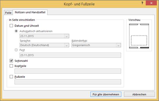 """Registerkarte """"Notizen und Handzettel"""""""