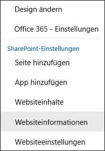 "Screenshot der SharePoint-Menüoption ""Websiteinformationen""."