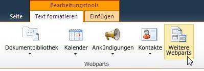 Klicken auf 'Weitere Webparts'