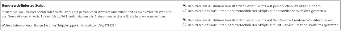"""Abschnitt """"Benutzerdefiniertes Skript"""" auf der Seite """"Einstellungen"""" im SharePoint Admin Center"""